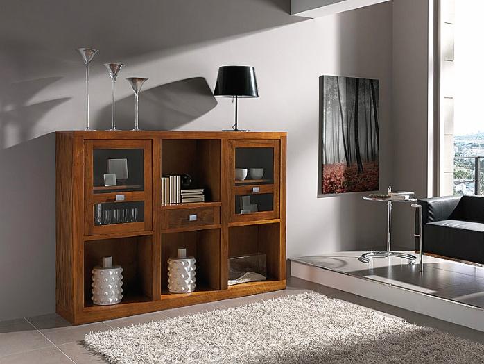 Aparador - Vajillero realizado en madera de nogal americano y con 2 puertas y 1 cajón. Mueble auxiliar para salones y comedores. Medidas: 190x40x137 cm.