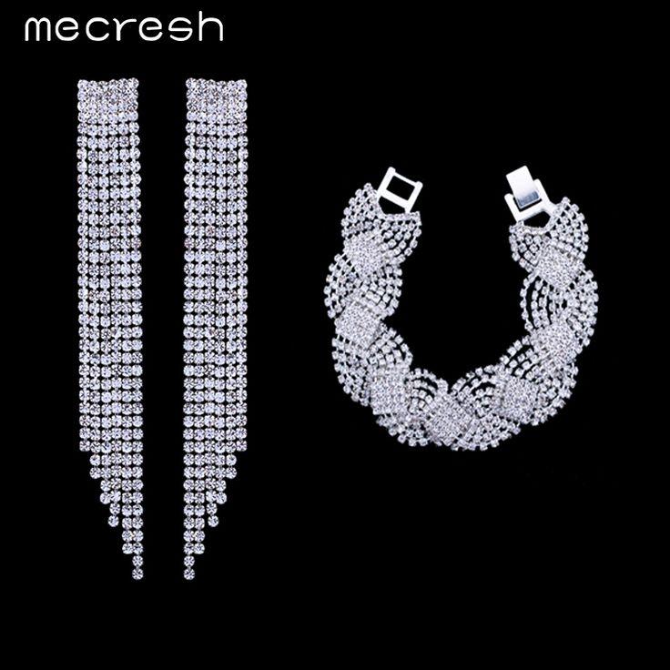 Mecresh Super Crystal Bridal Jewelry Sets Tassel Earrings Bracelets Wedding Accessories EH424+SL076