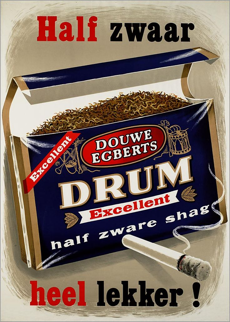 Oude Nederlandse reclameposters DOUWE EGBERTS DRUM Excellent half zware shag
