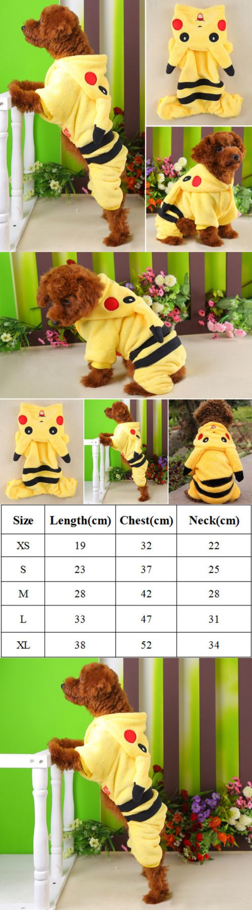 Cute Animals And Animals Stuff: Pet Dog Cat Winter Clothes Coat Apparel Puppy Coat Jacket Hoodie Pikachu Costume -> BUY IT NOW ONLY: $7.59 on eBay!