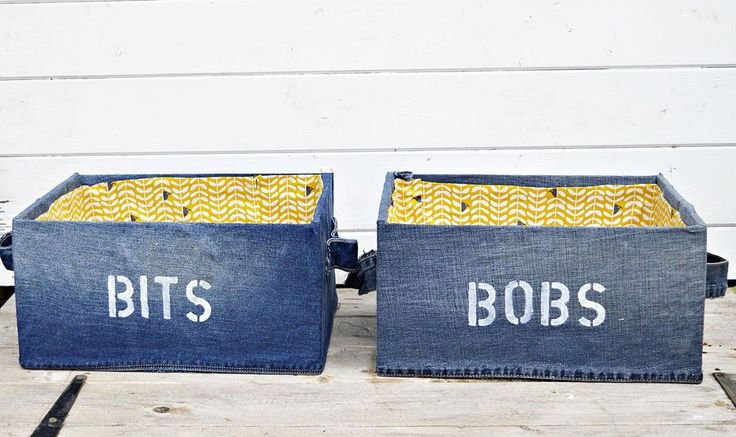 "DIY Denim Storage Boxes for Your ""Bits and Bobs"""