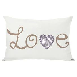 """Bring a delightful touch to your bed or settee with this charming pillow, featuring a typographic motif and complementing heart details on the back.   Product: PillowConstruction Material: PolyesterColor: Ivory and tanFeatures: Insert includedDimensions: 14"""" x 20""""Cleaning and Care: Machine wash"""