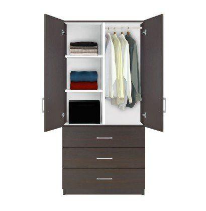 Alta+Wardrobe+Armoire+-+3+Drawer+Wardrobe,+Shelves,+Hangrod