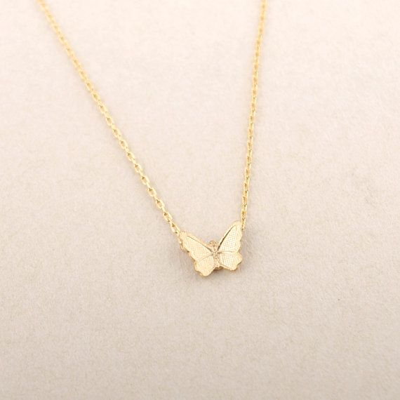 Gold/ Pink Gold Textured Butterfly Necklace by bkandjio on Etsy, $13.80