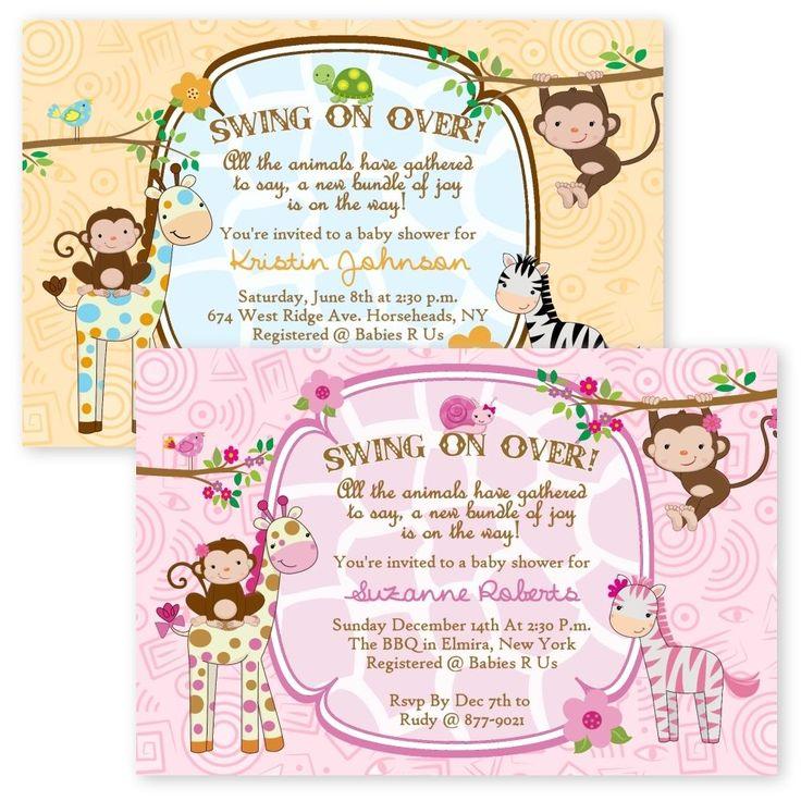 Details about Jungle Baby Shower Invitations Girl Boy Twin Giraffe ...