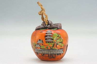 Japanese Ceramic Bell Nara Horyuji Temple Persimmon Local Toy Vg 415e15