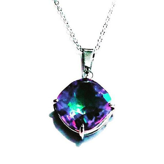 Mystic Topaz Necklace In Sterling Silver Handmade Jewelry By NorthCoastCottage Jewelry Design & Vintage Treasures. A large round mystic topaz in makes this necklace a beautiful attraction generator. A super 18 sweater necklace, meditation and prophecy aide, beloved gift, instant