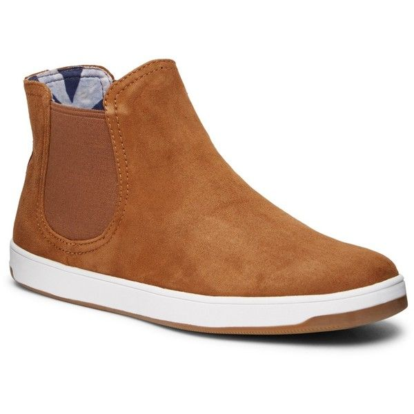 Tommy Bahama Cove Palms Suede Chelsea Boot ($80) ❤ liked on Polyvore featuring shoes, boots, tan suede, suede beatle boots, chelsea ankle boots, rounded toe chelsea boots, suede chelsea boots and beatle boots