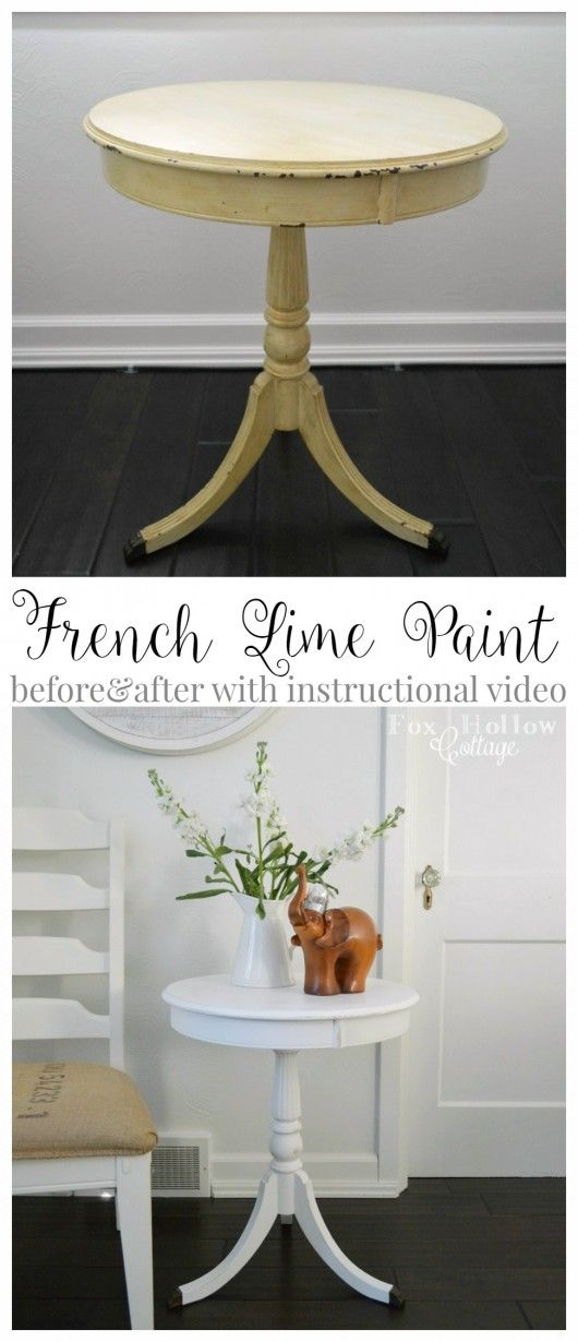 French Lime Paint Before and After Painted Furniture Makeover with Instructional Video - Maison Blanche Paint Company La Chaux by foxhollowcottage.com