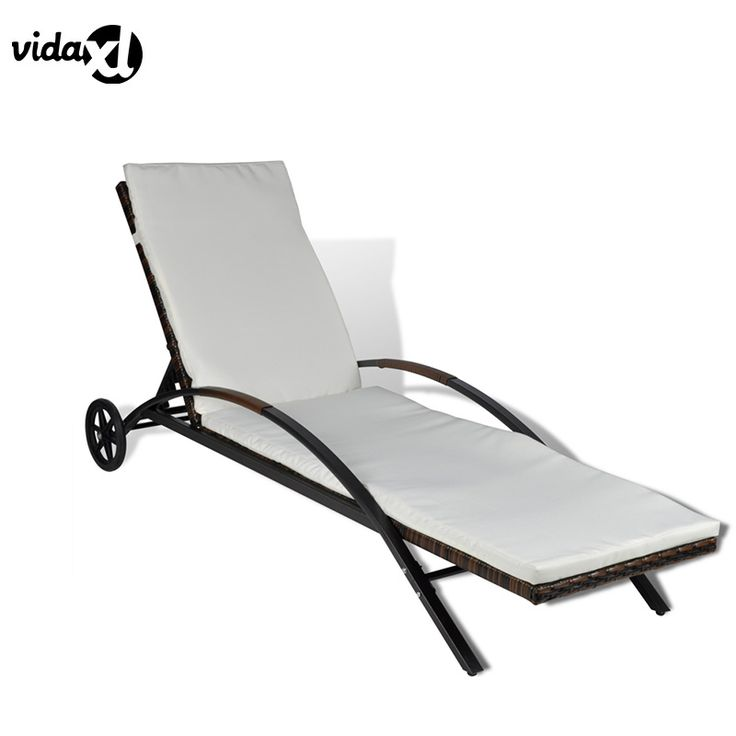 Superb vidaXL Rattan Sun Lounger Washable Mats Casters Outdoor Furniture Sunbed Durable Waterproof Easy to Clean