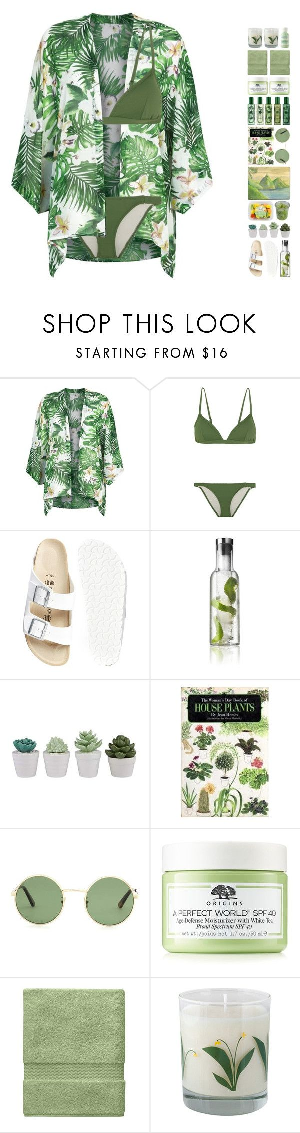 """6365"" by tiffanyelinor ❤ liked on Polyvore featuring Fashion Union, Eberjey, Birkenstock, Menu, Moleskine, Yves Saint Laurent, Jo Malone, Origins, Yves Delorme and Crash"