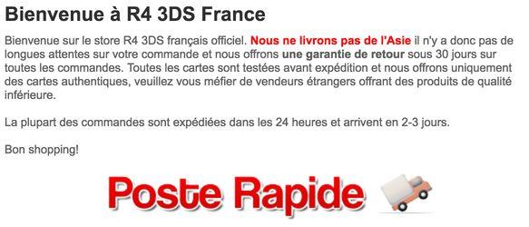 http://www.r43dslinkerfr.com/  R4 3DS pour Nintendo 3DS et 2DS Consoles, livraison rapide.