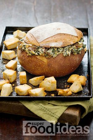 Spinach and caramelised onion cob loaf dip. Super Food Ideas August issue, page 15.