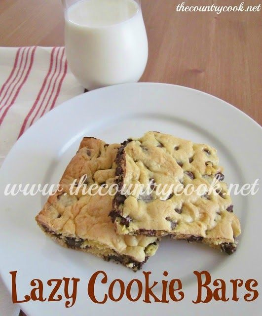 The Country Cook: Lazy Cookie Bars. Made with yellow cake mix, 2 eggs, 5T melted butter and 1 bag chocolate chips. EASY