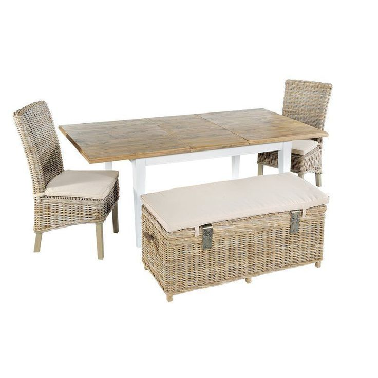 Wooden Dining Set Brown Extendable Table Rattan Chairs Bench Pine Wood Furniture