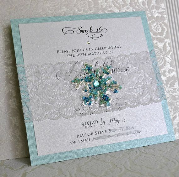 Inspired by the Disney animation, Frozen and the high demand for Winter Wonderland invitations, this is one of my favorite snowflake invitation
