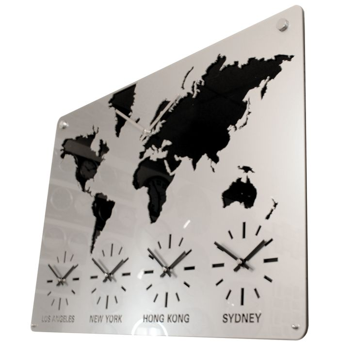 The 25 best international time zone map ideas on pinterest wall roco verre silver acrylic map world time zone wall clock with five time zones a world clock with a custom time zone personalised world map time zone clock gumiabroncs Choice Image