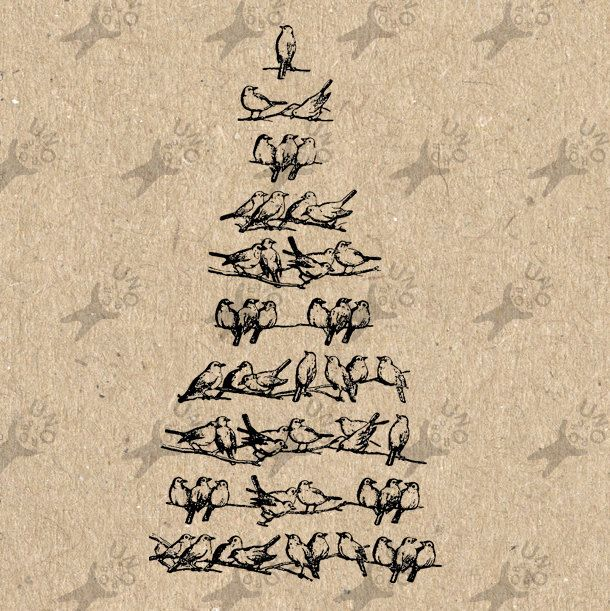 Birds Christmas Tree image Instant Download printable Vintage picture clipart digital graphic for scrapbooking, burlap, decor etc 300dpi by UnoPrint on Etsy