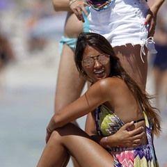 Antonella Roccuzzo, Daniella Semaan and Sofia Balbi enjoy the sun in the Balearic Islands