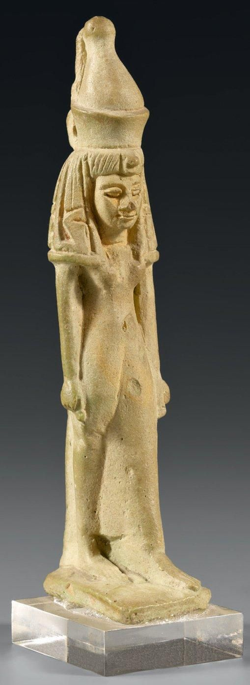 Rare amulet representing the goddess Maat walking upright & wearing the double crown of Upper & Lower Egypt.