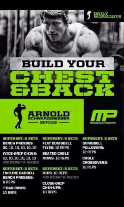 31 best workout plan images on pinterest exercise plans daily workout arnold chest back malvernweather Choice Image