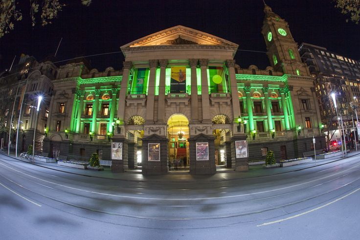 An amazing pic of Melbourne Town Hall spectacularly lit up for the Wicked Launch Party a few weeks ago... very fitting! #GreenWithEnvy #lights #AV