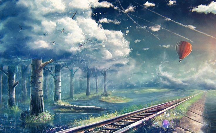 Фантастический мир Железные дороги Небо Облака Воздушный шар Деревья Фэнтези Природа