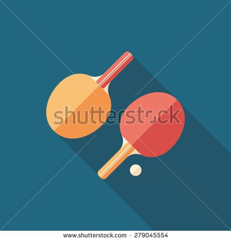 Table tennis rackets flat square icon with long shadows. #sport #sporticons #flaticons #vectoricons #flatdesign