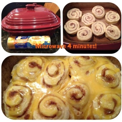4 minute Cinnamon Buns     1 can of buns   Glaze in the can   More glaze --- powdered sugar and splash of milk!     Place in Pampered Chef Deep Covered Baker microwave for 4 minutes uncovered! Add glaze!     Try to have just one!