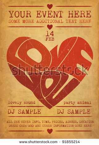 Vintage Valentines Day Party Flyer Design by Vilmos Varga, via Shutterstock