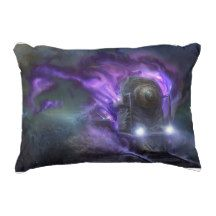 This Purple Flyer Express Pillow will look great on a sofa or bed.