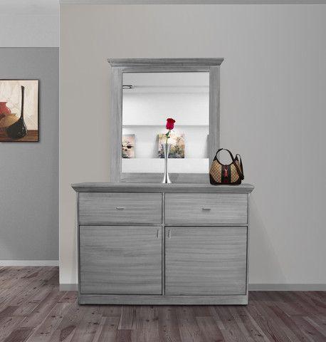 Comoda con espejo atala gris vintage ingenia muebles 1 for Espejos para comodas
