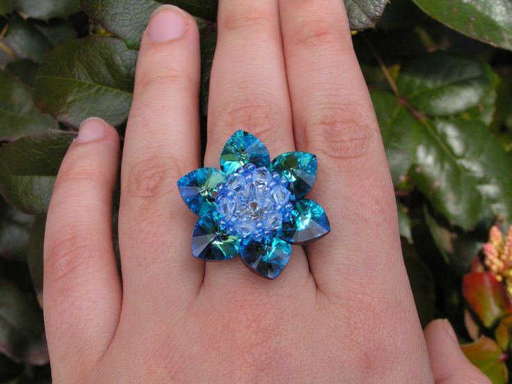 Lotus - Blue Azure ring   --    I used flexible fishing line, so everybody can wear.