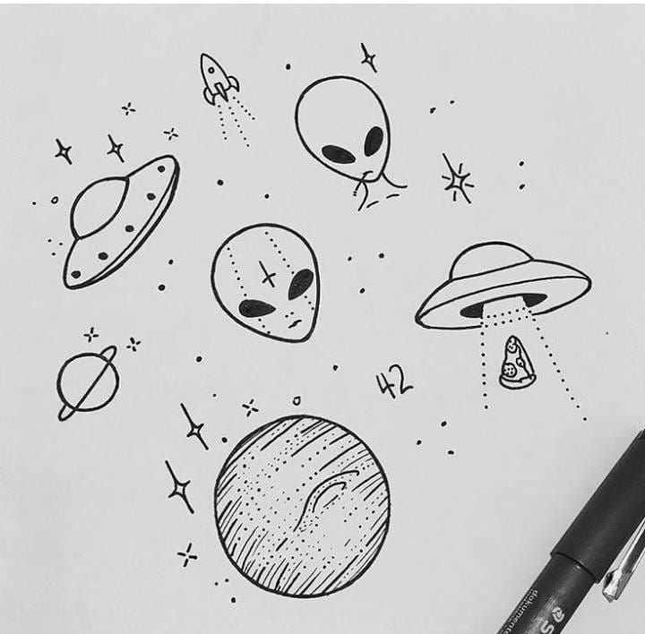 La Imagen Puede Contener Dibujo Art Sketches Doodles Alien Drawings Space Drawings