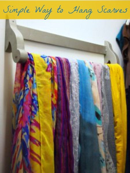 How I store my scarves! DIY: How To Hang Scarves with a Towel Bar
