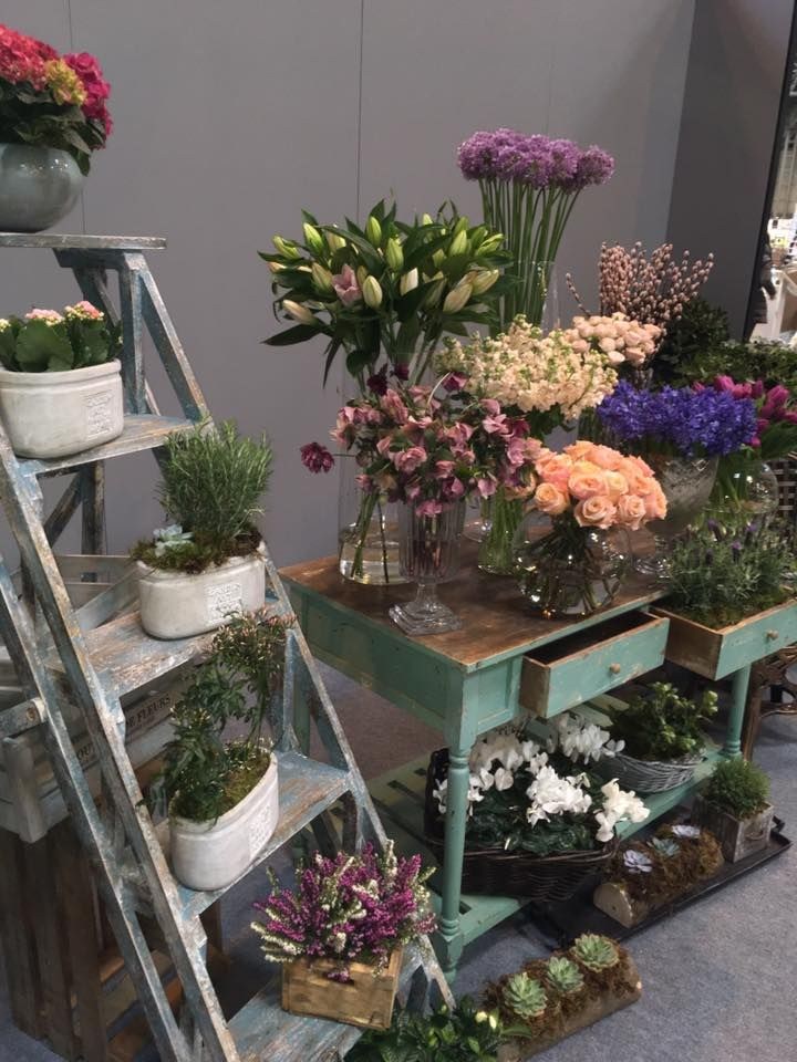 photo pod at photography show nec- succulent chair - vase flowers - wooden ladders - plants - flowers - crates- exhibition set up - stand set up - photo opportunities