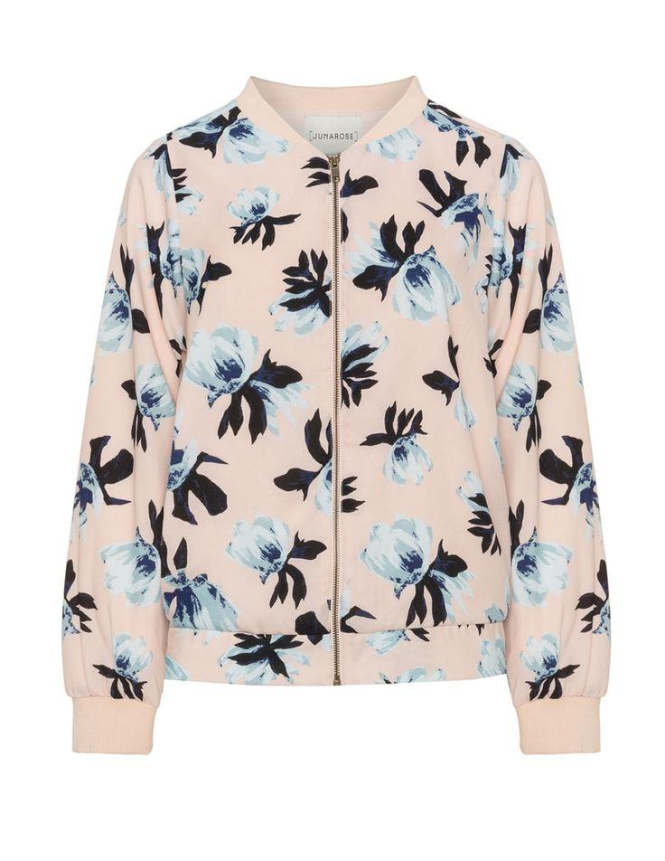 Junarose Crêpe floral print bomber jacket in Pink / Multicolour