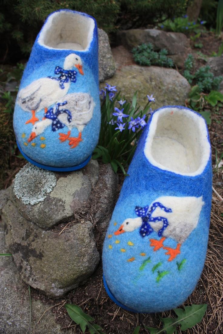 Felted Slippers- Little ducks