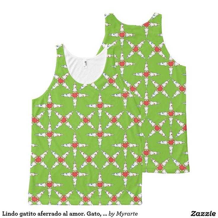 Lindo gatito aferrado al amor. Gato, cat, kitten. Love. Producto disponible en tienda Zazzle. Vestuario, moda. Product available in Zazzle store. Fashion wardrobe. Regalos, Gifts. Día de los enamorados, amor. Valentine's Day, love. Trendy tshirt. Link to product: http://www.zazzle.com/lindo_gatito_aferrado_al_amor_gato_cat_kitten_all_over_print_tank_top-256077465861029289?CMPN=shareicon&lang=en&social=true&rf=238167879144476949 #ValentinesDay #SanValentin #love #camiseta #tshirt
