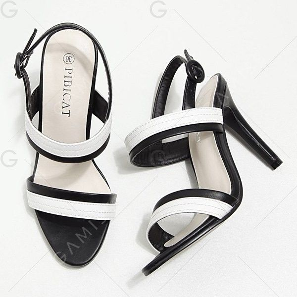 White And Black 39 Two Tone Stiletto Heel Sandals (£15) ❤ liked on Polyvore featuring shoes, sandals, heels, black and white stiletto shoes, black and white shoes, stiletto high heel shoes, stiletto heel shoes and white and black shoes