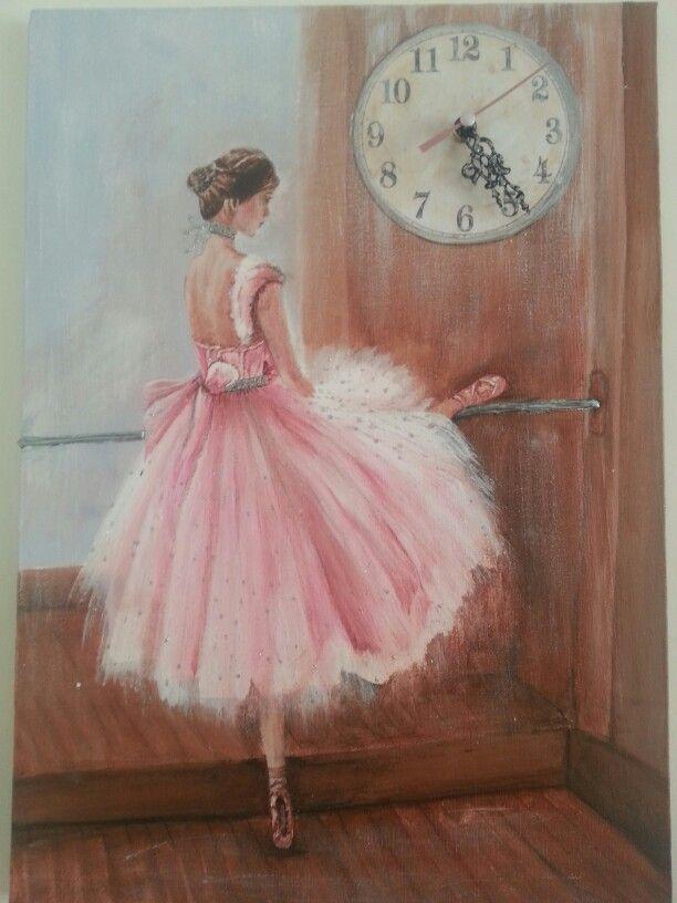 Tablo saat akrilik el boyama 35*50 balerin