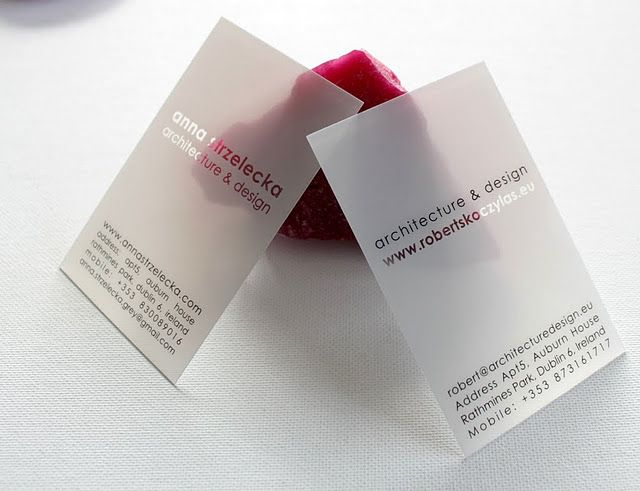 Pinkograf. The best plastic business cards: Architect business cards. Simply spectacular!