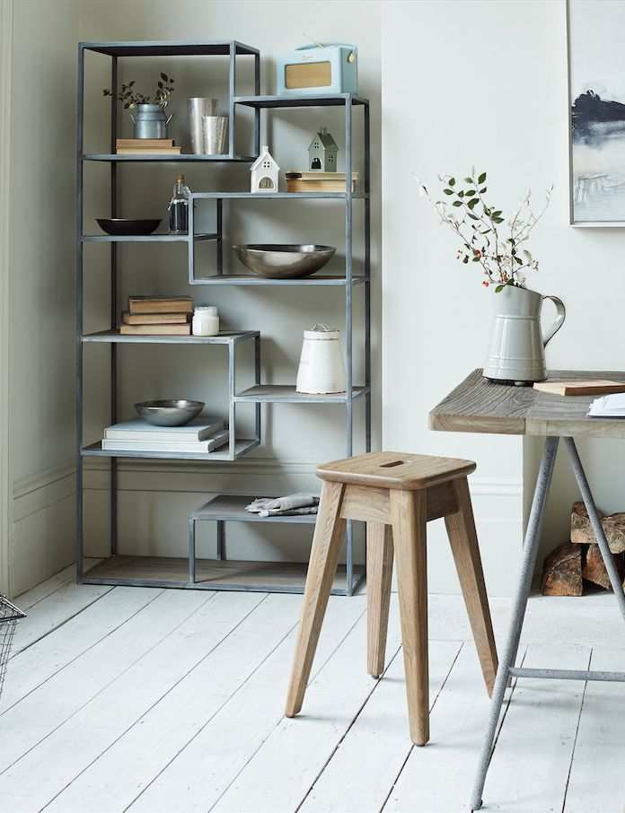Loaf's Tickety mismatched shelves with a metal frame and reclaimed wood