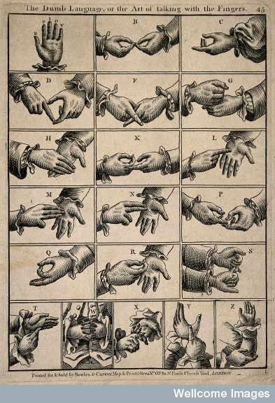 "1809 Antique illustration of 'Finger Letters' (currently BSL; used in Britain & a select few of her territories): ""The Dumb Language or the Art of talking with the Fingers"" as titled also illustrates how far cultures' attitudes have come -in some ways- towards people with hearing loss, ie: changes in how the majority labels minorities."