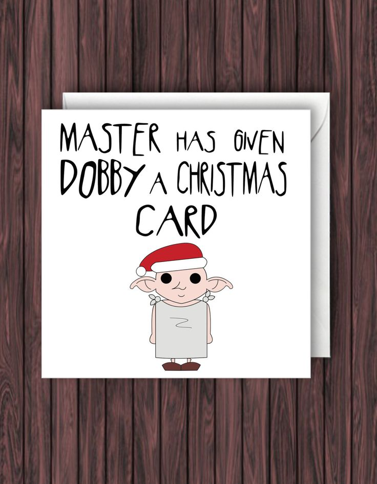 Dobby Xmas. Harry Potter Christmas Card. Geek Blank Card. Funny Greetings Card. by TheDandyLionDesigns on Etsy https://www.etsy.com/listing/250633763/dobby-xmas-harry-potter-christmas-card