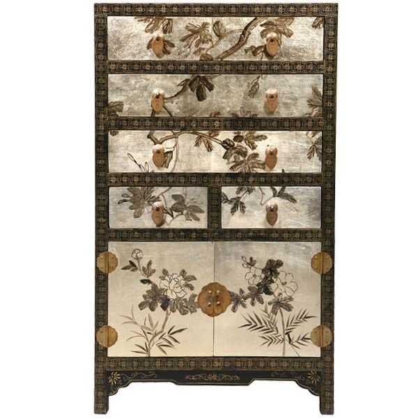 Silver/black Oriental Dresser. Interesting How Theyu0027ve Got The Image On The