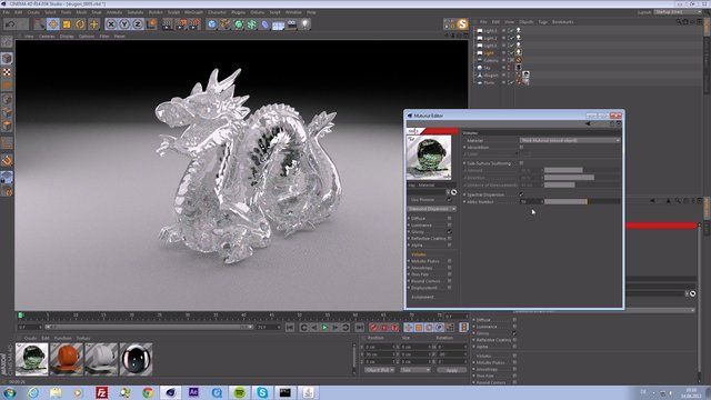 Setting up the iray material in m4d including dispersion.  Our Portfolio: www.buerobewegt.com  Get m4d: www.m4d.info  Scene File: www.files.buerobewegt.com/iray_tutorial_assets/dragon_iray_material_dispersive_glass.c4d