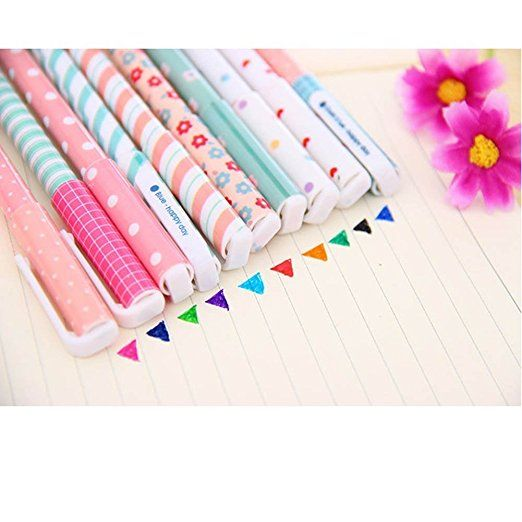 Amazon.com : vanki 10 Pcs Multi Colors Colorful Gel Ink Pen Cute Korean Cartoon Pin Type Wholesale Kawaii Stationery : Office Products