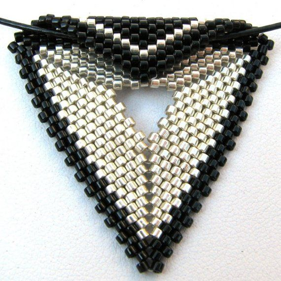 Elegant Silver and Black Peyote Triangle Choker