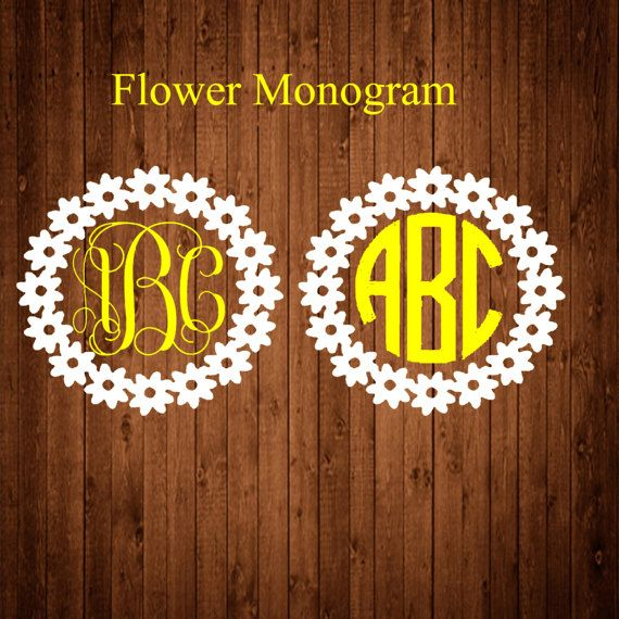 Flower Monogram decal Monogram sticker circle monogram